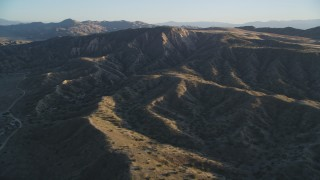 DFKSF17_026 - 5K stock footage aerial video of flying over the Caliente Range desert mountains, Cuyama Valley, California