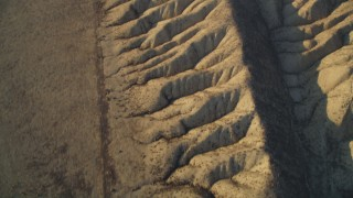 DFKSF17_028 - 5K stock footage aerial video tilt from bird's eye of the San Andreas Fault to wider view of desert in San Luis Obispo County, California
