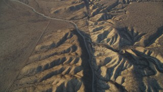 DFKSF17_031 - 5K stock footage aerial video tilt up along San Andreas Fault in the desert, San Luis Obispo County, California