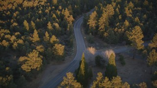 DFKSF17_045 - 5K stock footage aerial video of following a road through forest, Los Padres National Forest, California, sunset