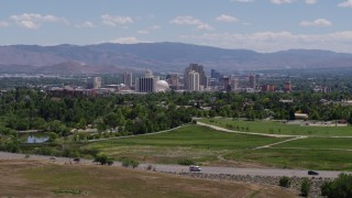 DX0001_000002 - 5.7K stock footage aerial video of a view of the city skyline in Reno, Nevada