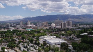 DX0001_000026 - 5.7K stock footage aerial video of hotels and casinos of the skyline of Reno, Nevada