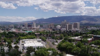DX0001_000027 - 5.7K stock footage aerial video of hotels and casinos of the city's skyline in Reno, Nevada