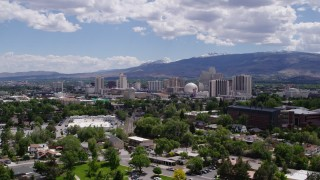 DX0001_000029 - 5.7K stock footage aerial video of a static view of hotels and casinos of the city's skyline in Reno, Nevada