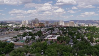 DX0001_000051 - 5.7K stock footage aerial video of passing by the hotels and casino resorts of Reno, Nevada