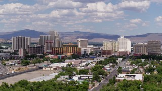 DX0001_000056 - 5.7K stock footage aerial video flyby the large hotels and casino resorts of Reno, Nevada