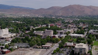 DX0001_000112 - 5.7K stock footage aerial video of the Nevada State Capitol dome and state government buildings in Carson City, Nevada