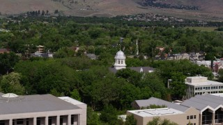 DX0001_000114 - 5.7K stock footage aerial video of a view of the Nevada State Capitol dome in Carson City, Nevada