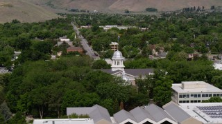 DX0001_000115 - 5.7K stock footage aerial video of flying by the Nevada State Capitol building in Carson City, Nevada