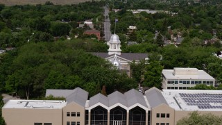 DX0001_000119 - 5.7K stock footage aerial video of the Nevada State Capitol building domes in Carson City, Nevada