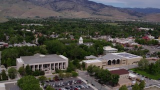 DX0001_000120 - 5.7K stock footage aerial video of the Nevada State Capitol behind the Supreme Court and State Library in Carson City, Nevada
