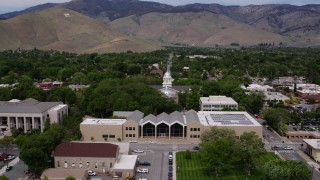 DX0001_000121 - 5.7K stock footage aerial video of the Supreme Court, Nevada State Capitol dome, and State Library in Carson City, Nevada