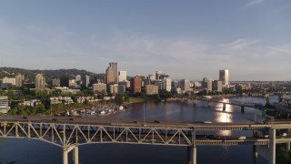 DX0001_000196 - 4K stock footage aerial video flying over Marquam Bridge, approaching Riverplace Marina and Downtown Portland, Oregon