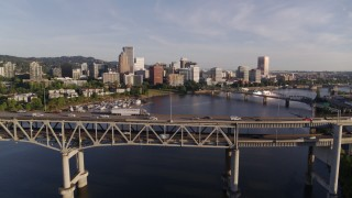 DX0001_000202 - 4K stock footage aerial video approaching and flying over the Marquam Bridge, I-5, Downtown Portland, Oregon