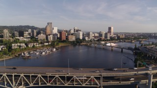 DX0001_000203 - 4K stock footage aerial video flying away from downtown and over the Marquam Bridge, I-5, Downtown Portland, Oregon