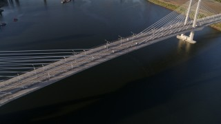 DX0001_000205 - 4K stock footage aerial video of a bird's eye view of pedestrians on the Tilikum Crossing, South Portland, Oregon