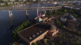 DX0001_000208 - 5.7K stock footage aerial video of the Marquam Bridge, and OMSI in the foreground, Southeast Portland, Oregon