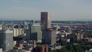 DX0001_000212 - 5.7K stock footage aerial video of the U.S. Bancorp Tower, skyscrapers and office buildings, Downtown Portland, Oregon