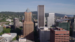 DX0001_000221 - 5.7K stock footage aerial video flying away from KOIN Center, Wells Fargo Center and surrounding buildings, Downtown Portland, Oregon