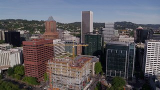DX0001_000234 - 5.7K stock footage aerial video of downtown office buildings and World Trade Center in Downtown Portland, Oregon