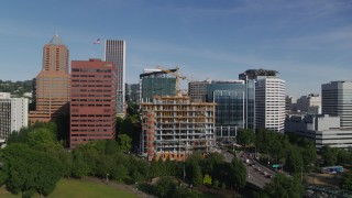 DX0001_000245 - 5.7K stock footage aerial video view of new construction near the Umpqua Bank Plaza in Downtown Portland, Oregon