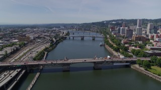 DX0001_000258 - 5.7K stock footage aerial video approach of downtown bridges spanning Willamette River, Downtown Portland, Oregon