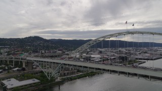 DX0001_000269 - 5.7K stock footage aerial video of Fremont Bridge and Northwest industrial area, Portland, OR
