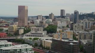 DX0001_000273 - 5.7K stock footage aerial video of skyscrapers and condo complexes at sunset in Downtown Portland, Oregon