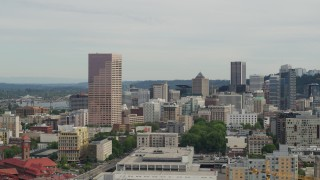 DX0001_000277 - 5.7K stock footage aerial video of US Bankcorp Tower and office buildings at sunset, Downtown Portland, Oregon