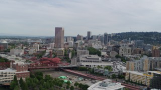 DX0001_000282 - 5.7K stock footage aerial video of Downtown Portland, Oregon at sunset seen from the Pearl District