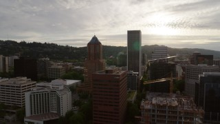 DX0001_000292 - 5.7K stock footage aerial video of office buildings and skyscrapers, sunset, Downtown Portland, Oregon