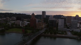 DX0001_000314 - 5.7K stock footage aerial video of Downtown Portland, Oregon at twilight
