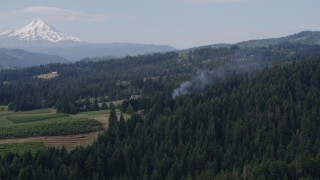 DX0001_000350 - 5.7K stock footage aerial video of smoke rising from trees near homes, reveal Mt Hood, Hood River, Oregon