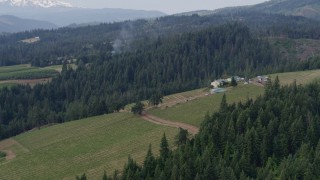 DX0001_000357 - 5.7K stock footage aerial video of vineyards and the winery surrounded by forests, Hood River, Oregon
