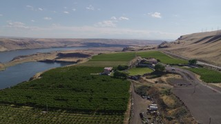 DX0001_000430 - 5.7K stock footage aerial video of the Maryhill Winery beside the Columbia River in Goldendale, Washington