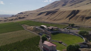 DX0001_000431 - 5.7K stock footage aerial video of flying by the Maryhill Winery in Goldendale, Washington