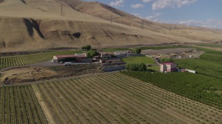 DX0001_000434 - 5.7K stock footage aerial video of an orbit of the Maryhill Winery and vineyards in Goldendale, Washington