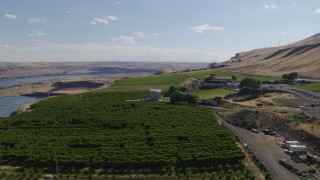DX0001_000436 - 5.7K stock footage aerial video of the Maryhill Winery and vineyards beside the Columbia River in Goldendale, Washington