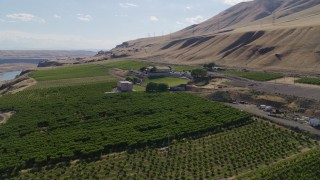 DX0001_000446 - 5.7K stock footage aerial video of approaching the Maryhill Winery and amphitheater in Goldendale, Washington