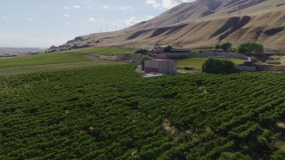 DX0001_000447 - 5.7K stock footage aerial video of an approach to the Maryhill Winery and amphitheater in Goldendale, Washington