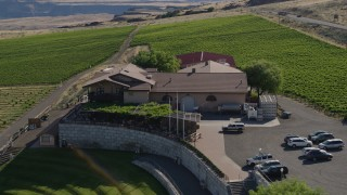 DX0001_000458 - 5.7K stock footage aerial video of orbiting the Maryhill Winery to reveal the Columbia River in Goldendale, Washington