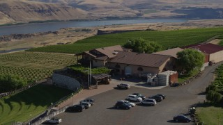 DX0001_000459 - 5.7K stock footage aerial video of orbiting the Maryhill Winery with a view of the Columbia River in Goldendale, Washington