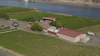 DX0001_000460 - 5.7K stock footage aerial video of orbiting the Maryhill Winery, with views of the Columbia River in Goldendale, Washington