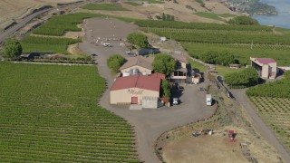 DX0001_000464 - 5.7K stock footage aerial video of orbiting around the Maryhill Winery in Goldendale, Washington