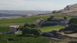 DX0001_000466 - 5.7K stock footage aerial video of orbiting the Maryhill Winery and amphitheater in Goldendale, Washington