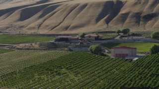 DX0001_000470 - 5.7K stock footage aerial video of circling around the Maryhill Winery and amphitheater in Goldendale, Washington