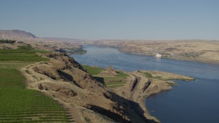 DX0001_000475 - 5.7K stock footage aerial video of a wide view of the Columbia River in Goldendale, Washington