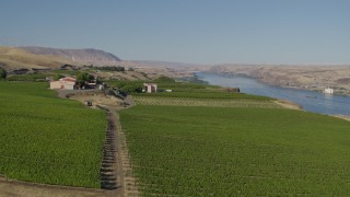 DX0001_000477 - 5.7K stock footage aerial video flyby the Maryhill Winery and vineyard to the Columbia River in Goldendale, Washington