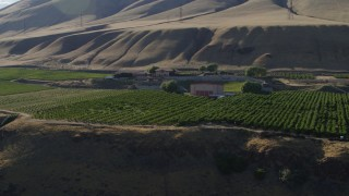 DX0001_000479 - 5.7K stock footage aerial video orbit the Maryhill Winery, amphitheater, and vineyard while ascending in Goldendale, Washington