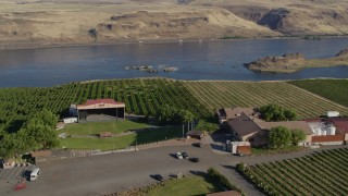 DX0001_000482 - 5.7K stock footage aerial video of the Maryhill Winery amphitheater stage, main building, Columbia River in Goldendale, Washington